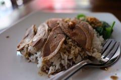 Canard cuit à la vapeur avec des riz Photographie stock