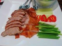 Canard de rôti d'un plat avec les veggies et la sauce blanche photos libres de droits
