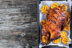 Canard de rôti avec les tranches oranges grillées, vue supérieure photographie stock libre de droits