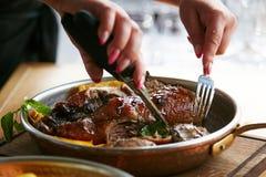 Canard de ragoût dans le plat Image libre de droits