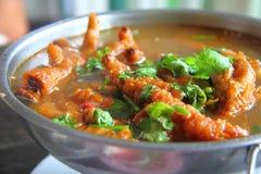 Canard de soupe avec de la sauce rouge Image libre de droits