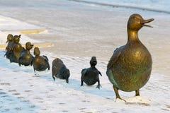 Canard en bronze avec ses enfants Photographie stock