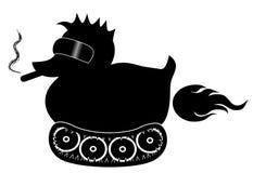 Canard en caoutchouc noir avec les lunettes de soleil et le cigare frais, sur le moovement de voies farting Images libres de droits