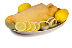 Canard et produits nécessaires pour sa préparation Photo stock