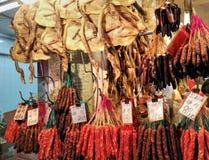 Canard et saucisse secs en Hong Kong Market photographie stock libre de droits