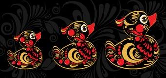 Canard jaune dans le style de Hohloma Photos stock