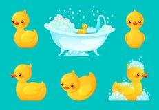 Canard jaune de bain Baquet de salle de bains avec la mousse, se baigner de détente et l'illustration en caoutchouc de vecteur de illustration stock