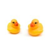 Canard jaune de bain sur le blanc Photos libres de droits