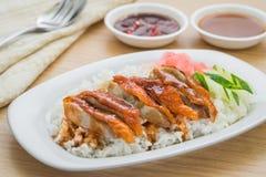 Canard rôti avec la sauce au jus et le riz photos libres de droits