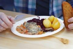 Canard rôti mangeur d'hommes avec le chou rouge et la pomme de terre Image libre de droits