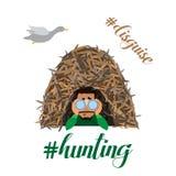 Canards de chasse de caractère d'homme de chasseur L'illustration plate de bande dessinée de vecteur avec le hashtag cite le lett Images libres de droits