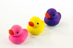 Canards en caoutchouc colorés Photographie stock