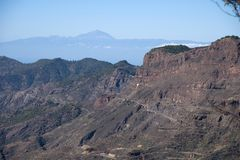 Canaria island. Panoramic View on Gran Canaria mountains and Teida in Tenerife from village Crus de Tejede, Spain royalty free stock photography