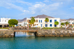 Canarian buildings and footbridge in Rubicon port Stock Photo