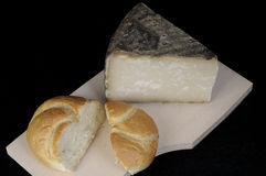 Canarian cheese. A piece of hard goat cheese from the Canary Islands Royalty Free Stock Photography