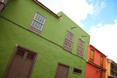 Canarian houses. Traditional Canarian Architecture in Puerto de la Cruz, Tenerife royalty free stock image