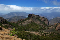 Canarian landscape. With mountains, vegetation and clouds Royalty Free Stock Photo