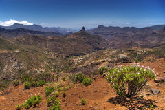 Canarian landscape. With mountains, vegetation and clouds Royalty Free Stock Image