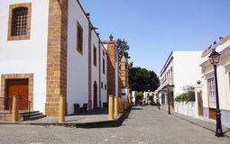 Canarian picturesque street, Spain. Street in picturesque village of Teror in a summer day, Gran Canaria, Canarian Islands, Spain royalty free stock photo
