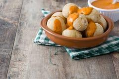 Canarian Potatoes (papas Arrugadas) With Mojo Sauce Royalty Free Stock Image