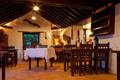 Canarian Rural Restaurant Interior. With Wooden Furniture royalty free stock image