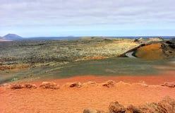 2011 Canarian wyspy Czerwiec Lanzarote park narodowy timanfaya obraz stock