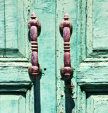 canarias brass  knocker in a green closed Stock Photography