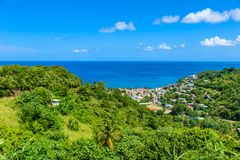 Canaries - Village on the Caribbean island of St. Lucia. It is a paradise destination with a white sand beach and turquoiuse sea royalty free stock images