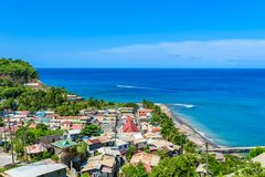 Canaries - Village on the Caribbean island of St. Lucia. It is a paradise destination with a white sand beach and turquoiuse sea stock images