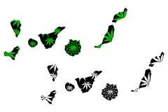 Canarische Eilanden - de kaart is ontworpen cannabisblad stock illustratie