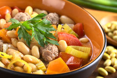 Canary Bean Soup with Meatballs Stock Photo