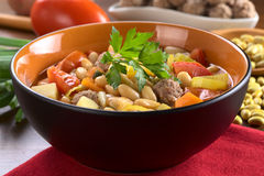 Canary Bean Soup with Meatballs Stock Image