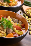 Canary Bean Soup with Meatballs Stock Photos