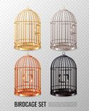 Canary Birdcage 3D Set. Set of empty closed canary birdcage of various color on transparent background 3d design isolated vector illustration Royalty Free Stock Images