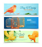 Canary And Birdcages Banners Set Stock Photos
