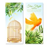 Canary In Free Flight Vertical Banners. Vertical banners with canary in free flight on green plants and empty open birdcage  vector illustration Stock Images
