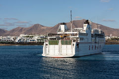 Canary Island Ferry Sails from Playa Blanca Lanzarote and Corralejo Fuerteventura. Stock Photography