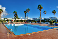 Canary Island holiday complex with pool Stock Image