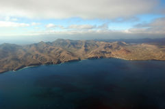 The Canary Islands. Island Lanzarote from plane, The Canary Islands, Spain stock photo