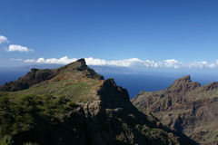 Canary islands. From Tenerife view over ocean up to Gomera Royalty Free Stock Photos