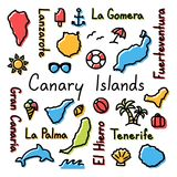 Canary Islands drawing doodle colorful summer concept. Vector Stock Images