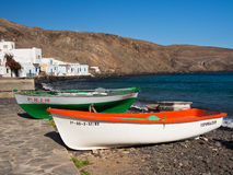 Canary Islands Fishing Village, Fuerteventura. Fishing boats on the beach at Pozo Negro, a working fishing village. Fuerteventura, Canary Islands Royalty Free Stock Photo