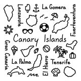 Canary Islands hand drawn doodle outline summer concept. Vector Stock Photos