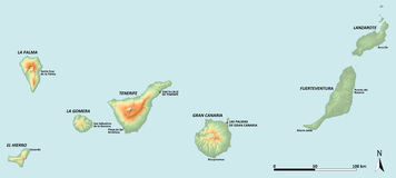 Canary Islands Map. A map showing the Canary Islands with shaded relief and hypsometric tints including major settlements Royalty Free Stock Photography
