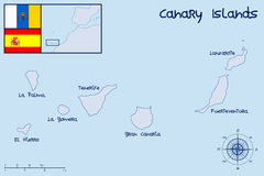 Canary Islands. Map and Flag of Canary Islands Stock Photography