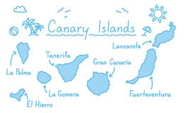 Canary islands map hand drawing doodle outline blue isolated travelling concept. Vector Royalty Free Stock Photo