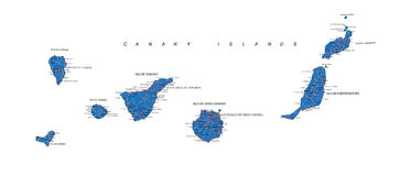 Canary Islands map. Highly detailed vector map of Canary Islands  with administrative regions, main cities and roads Stock Photography