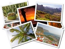 Canary Islands photo collage. Photo collage of different views of Gran Canaria, Canary Islands isolated on white background, Spain Stock Photography