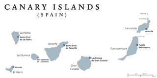 Canary Islands political map Royalty Free Stock Photography