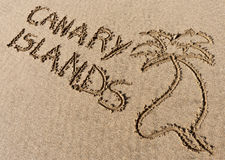 Canary Islands, sand writing on the beach Royalty Free Stock Photos